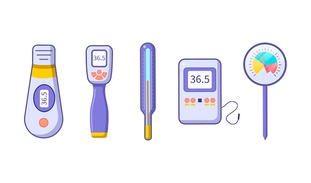 Ilustración de tipos de termómetro plano