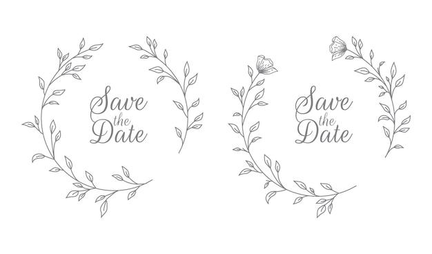 Ilustración de título de flora de boda