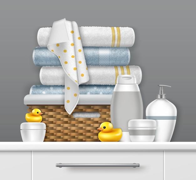 Ilustración de toallas en canasta de mimbre en el estante