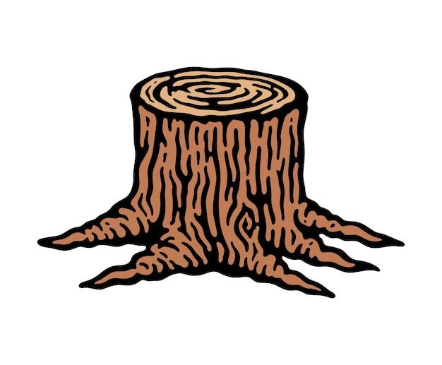 Ilustración de tocón de árbol en doodle vintage