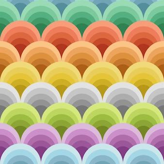 Ilustración de tonos de círculos de colores en patrones sin fisuras