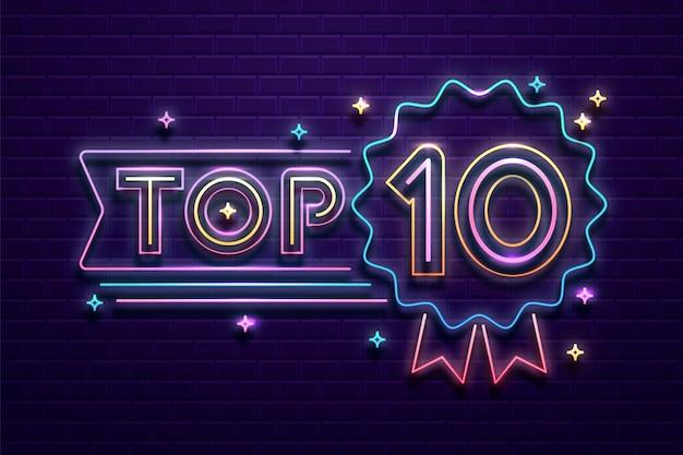 Ilustración de top 10 de luces de neón