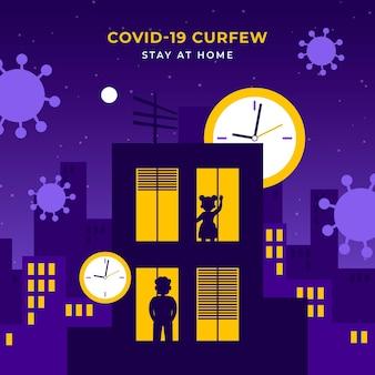 Ilustración de toque de queda nocturno de coronavirus