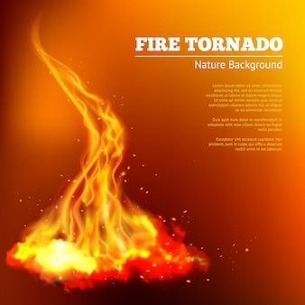 Ilustración de tornado de fuego