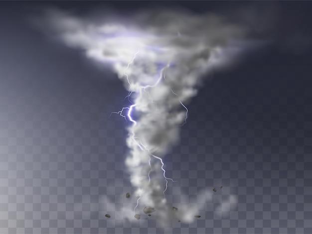 Ilustración del tornado realista con un rayo, huracán destructivo