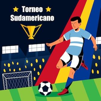 Ilustración de torneo de fútbol sudamericano de dibujos animados