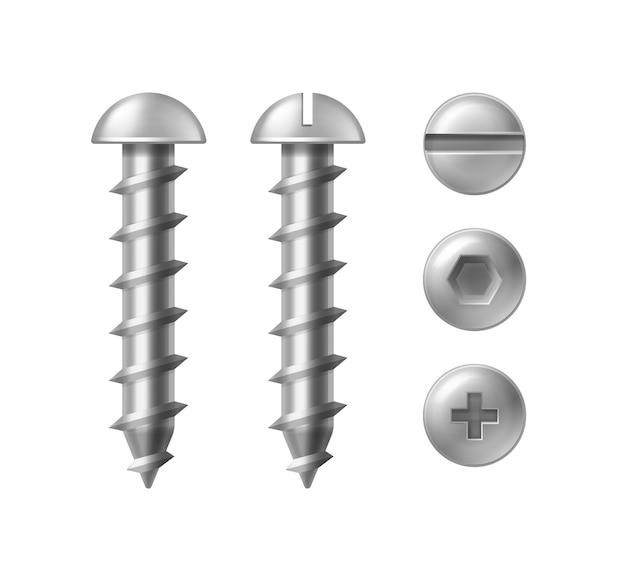 Ilustración de tornillo de metal, aislado sobre fondo blanco. cabeza redonda con tipos de tornillos ranurados, cruzados y hexagonales, vista superior