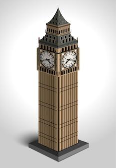Ilustración de la torre big ben sobre fondo blanco.
