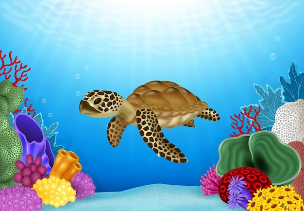 Ilustración de tortuga con hermoso mundo submarino