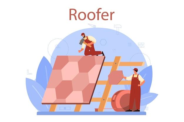 Ilustración de trabajador de construcción de techo