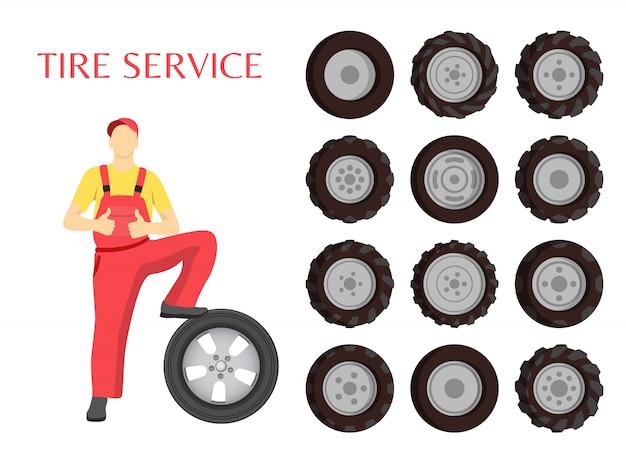 Ilustración de trabajador de servicio de neumáticos