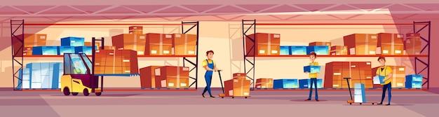 Ilustración de los trabajadores del almacén de la sala de almacenamiento de logística con productos en estantería