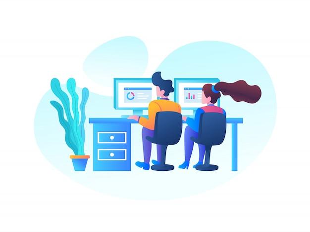 Ilustración de trabajadores de oficina de seo