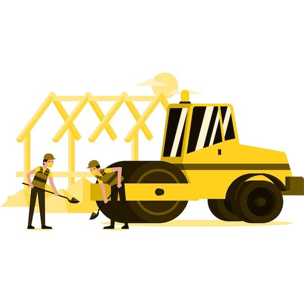 Ilustración de los trabajadores en el sitio de construcción