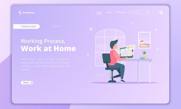 Ilustración de trabajo en casa para el concepto de profesional independiente en la plantilla de página de destino