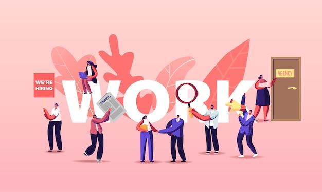 Ilustración de trabajo de contratación de personas. personajes que buscan trabajo en anuncios de periódicos y en línea
