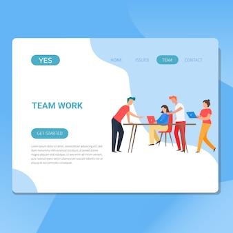 Ilustración de trabajo en equipo y desarrollo para web.