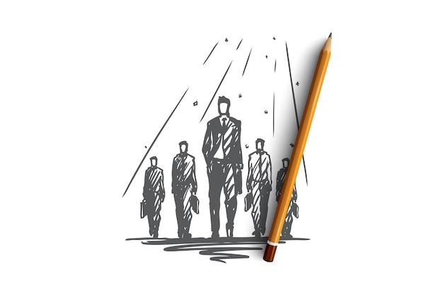 Ilustración de trabajo en equipo dibujado a mano