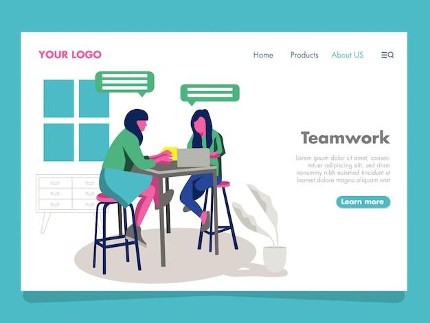 Ilustración de trabajo en equipo femenino para landing page