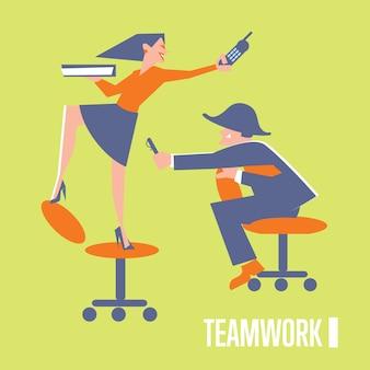 Ilustración de trabajo en equipo con gente de negocios
