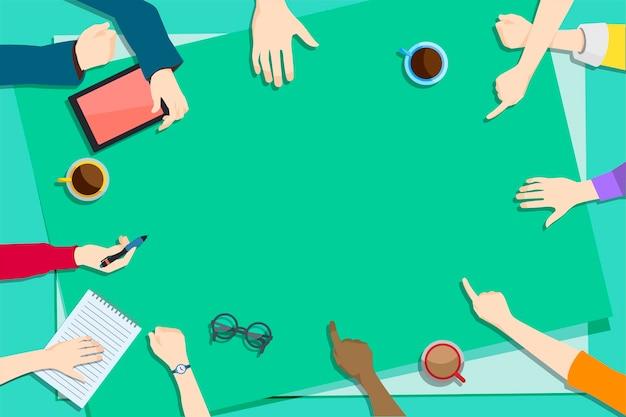 Ilustración del trabajo en equipo de intercambio de ideas