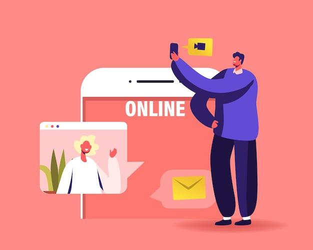 Ilustración de trabajo en equipo en línea