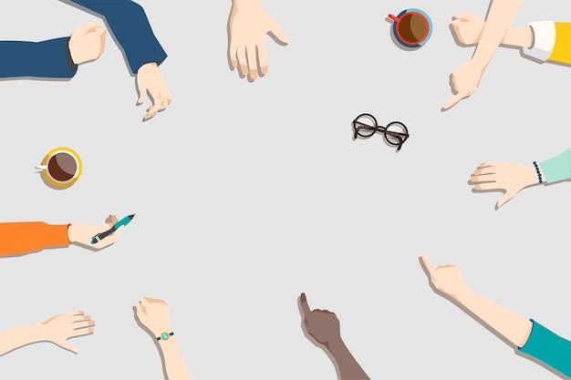 Ilustración del trabajo en equipo de lluvia de ideas.
