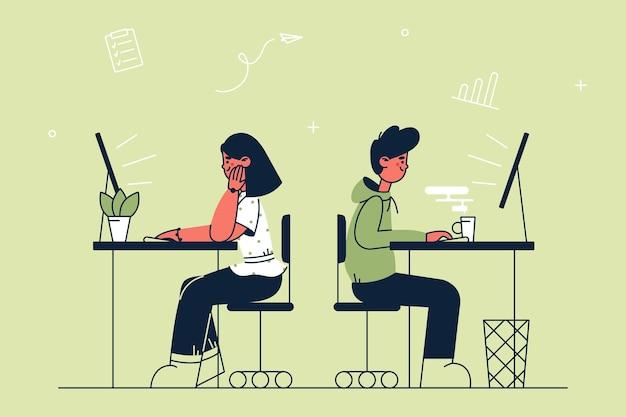 Ilustración de trabajo en equipo de negocios de trabajo de oficina