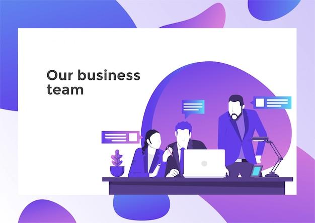 Ilustración de trabajo en equipo de negocios