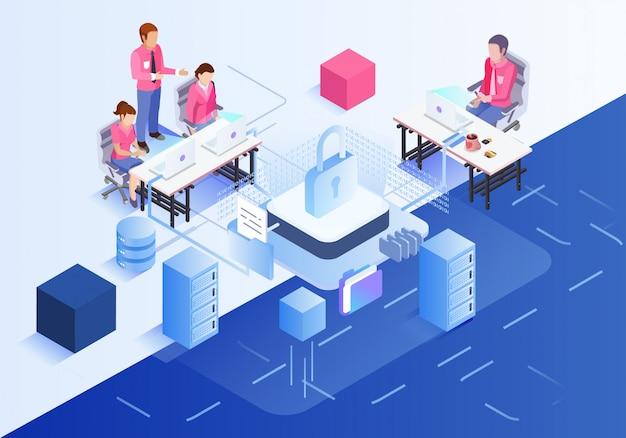 Ilustración del trabajo en equipo de la oficina de negocios.