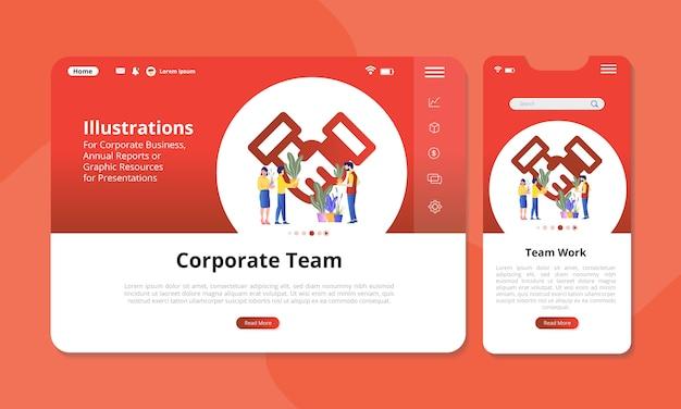 Ilustración de trabajo en equipo en la pantalla para web o pantalla móvil.