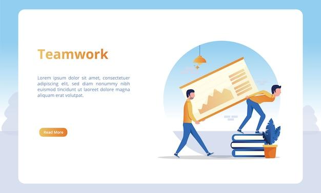 Ilustración de trabajo en equipo para plantillas de página de destino empresarial