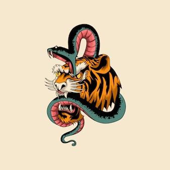 Ilustración tradicional de tigre y serpiente