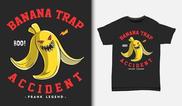 Ilustración de trampa de piel de plátano, con diseño de camiseta, dibujado a mano