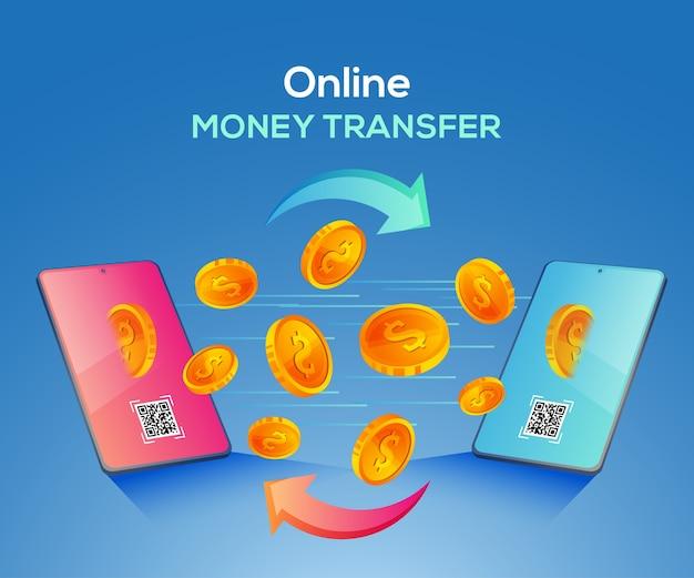 Ilustración de transferencia de dinero en línea