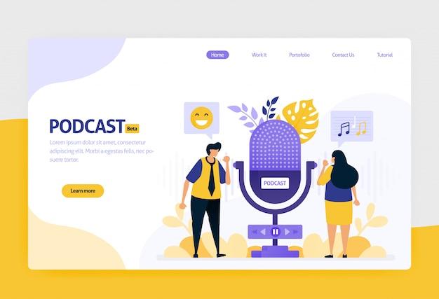 Ilustración de la transmisión de podcasts y entrevistas públicas modernas