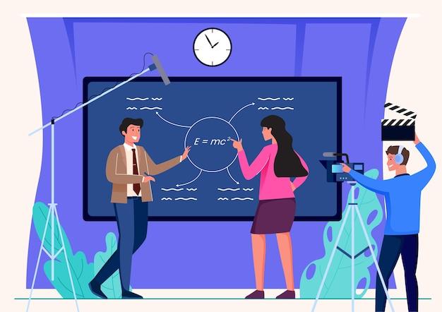 Ilustración de transmisión en vivo de aprendizaje en línea