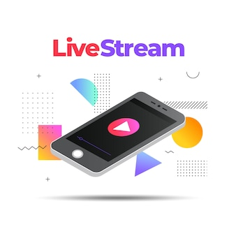 Ilustración de transmisión en vivo con teléfono inteligente