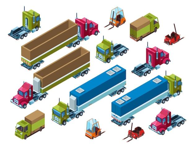 Ilustración del transporte de carga del remolque isométrico de la entrega de la logística