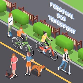 Ilustración de transporte ecológico personal con símbolos de transporte verde isométrico