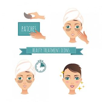 Ilustración de tratamiento de belleza, aplicación de parches debajo de los ojos