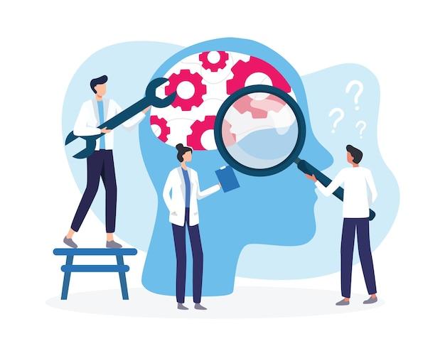 Ilustración de tratamiento médico de salud mental. terapia psicológica de salud mental rota. los médicos especialistas trabajan juntos para brindar terapia psicológica. en estilo plano