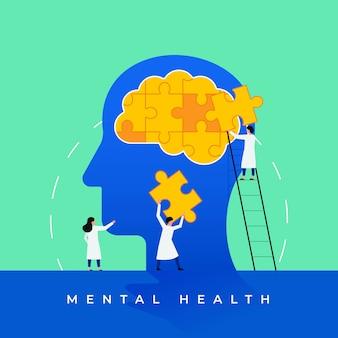 Ilustración de tratamiento médico de salud mental