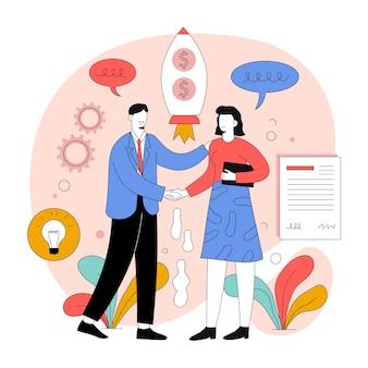 Ilustración de trato de negocio plano orgánico