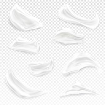 Ilustración de trazos de crema blanca de crema hidratante cosmética 3d realista, gel o espuma y pintura