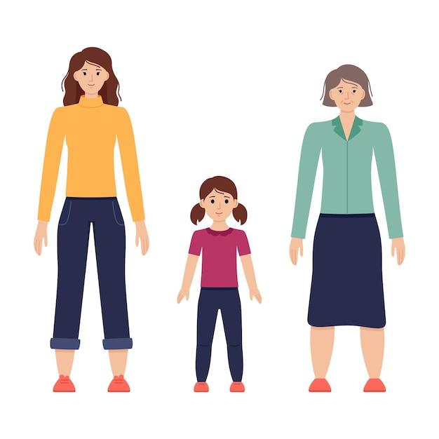 Ilustración de tres edades de mujeres desde niño hasta senior, ilustración vectorial
