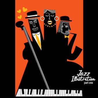 Ilustración de tres músicos de jazz
