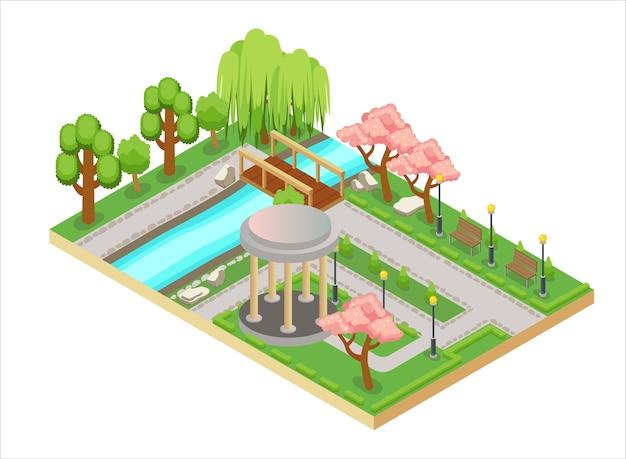 Ilustración tridimensional isométrica colorida del diseño del jardín oriental con callejón y puente.
