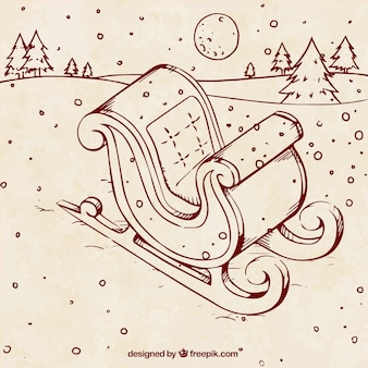 Ilustración de trineo dibujado a mano