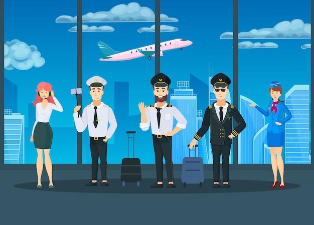 Ilustración de tripulación aérea comercial civil